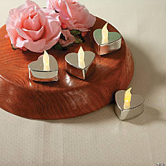 Heart-Shaped Silver Metallic Battery Operated Tealight Candles