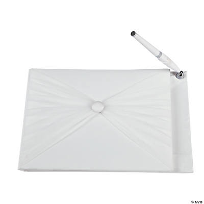 Ivory Tulle Wedding Guest Book with Pen
