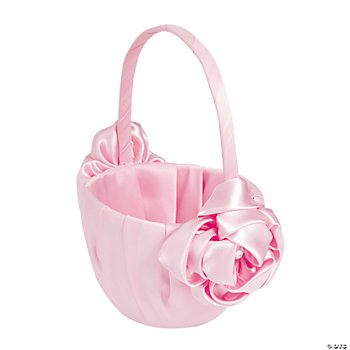 Pink Wedding Flower Girl Basket