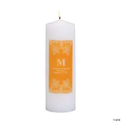 Personalized Gold Monogram Pillar Candles