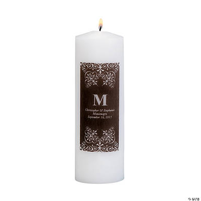 Personalized Black Monogram Pillar Candles