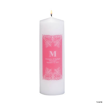 Personalized Hot Pink Monogram Pillar Candles