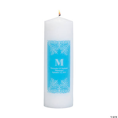 Personalized Light Blue Monogram Pillar Candles