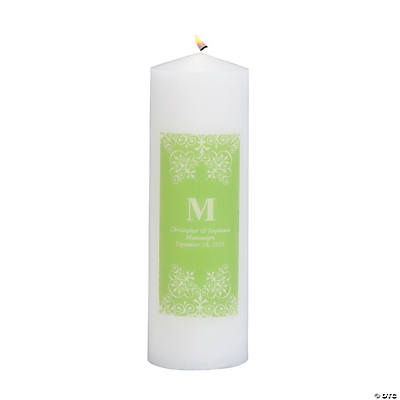 Personalized Lime Green Monogram Pillar Candles