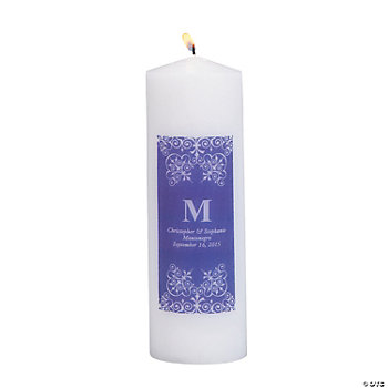 Personalized Purple Monogram Pillar Candles