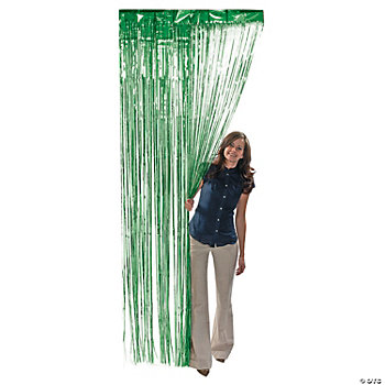 Green Metallic Foil Fringe Curtains