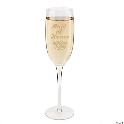 """Maid of Honor"" Wedding Champagne Flute"