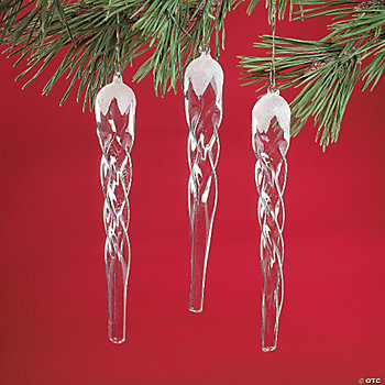 Iridescent Glass Icicle Ornaments
