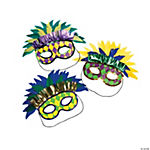 Geometric Print Mardi Gras Feather Masks