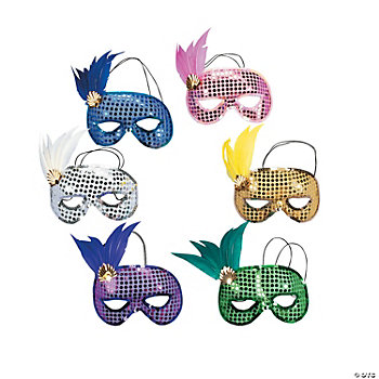 Mardi Gras Sequin & Feather Masks