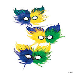 Mardi Gras Two-Tone Feather Half Masks