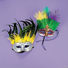 Feather Mardi Gras Deluxe Dramatic Masks
