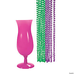 Mardi Gras Beads In A Hurricane Glass