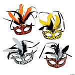 Animal Print Masks with Feathers
