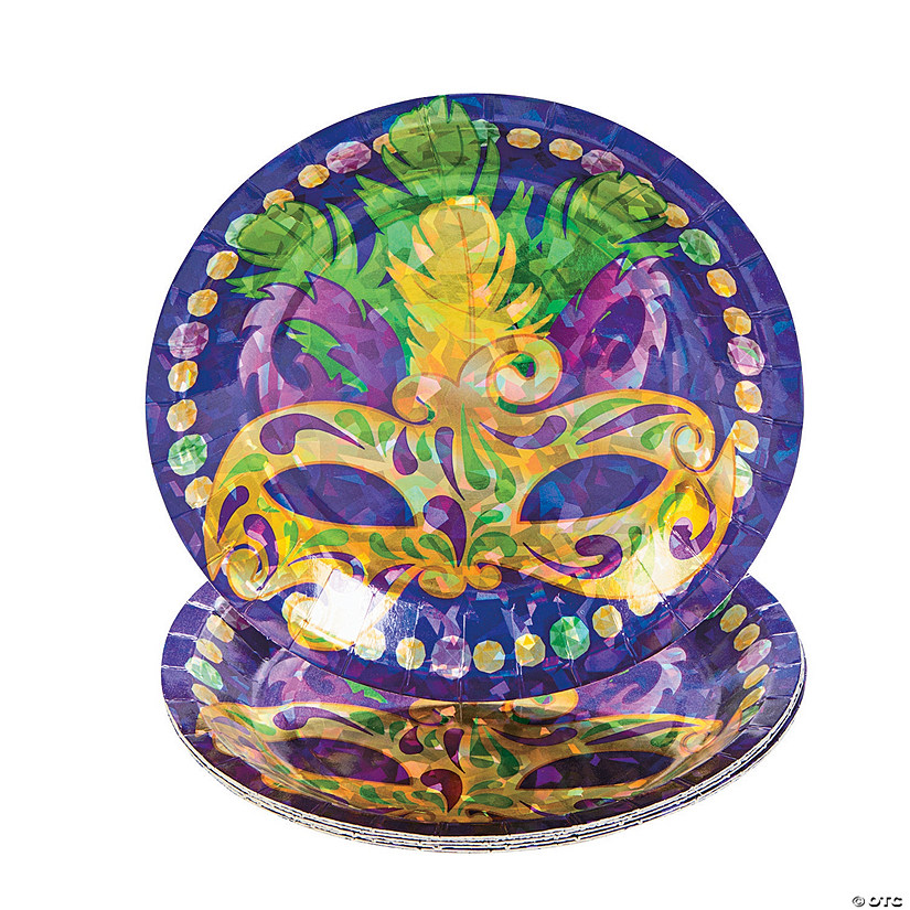 sc 1 st  Oriental Trading & Prismatic Mardi Gras Dessert Plates