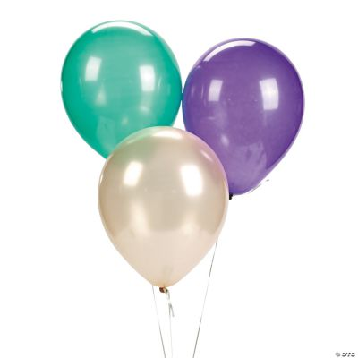 Latex Purple, Gold & Green Mardi Gras Balloon Assortment