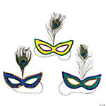 Mardi Gras Sequin Masks with Peacock Feather