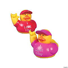 "Vinyl ""I Love You"" Rubber Ducks"