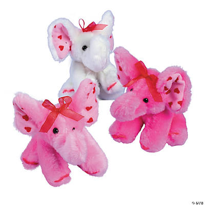 Plush Valentine Elephants with Bow