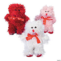 Plush Valentine Bears with Heart Patches