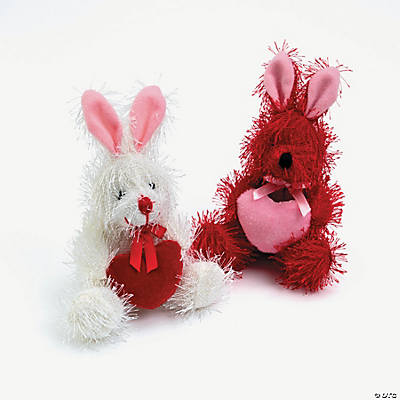 Plush Valentine Rabbits with Hearts