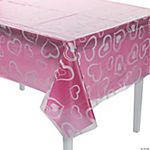 Clear Heart Print Table Cover