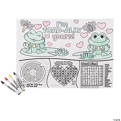 Valentine Activity Place Mats with Crayons