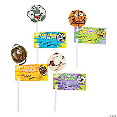 Sports Ball Valentine Suckers with Tags