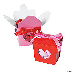Valentine Take Out Boxes with Heart Cutouts