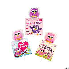 Owl & Friends Suckers on Valentine Card