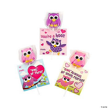 Owl & Friends Valentine Suckers On Card