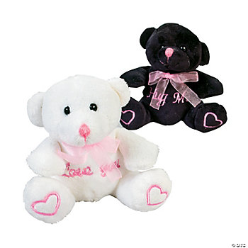 Plush Black & White Heart Bears