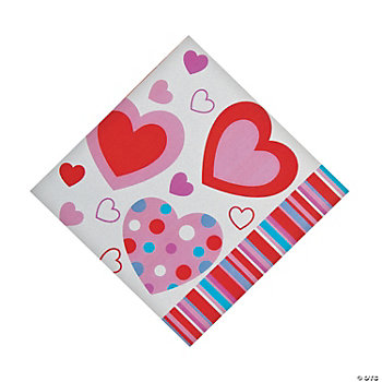 50 Valentine's Hearts Lunch Napkins