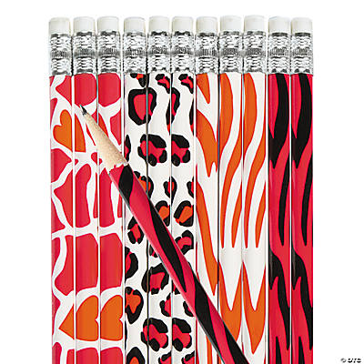 Animal Print Valentine Pencils