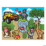Make-A-Valentine Wild Safari Sticker Scenes