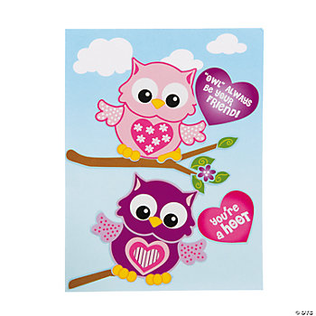 Make-A-Valentine Owl Sticker Scenes