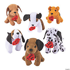 Plush Realistic Dogs with Hearts
