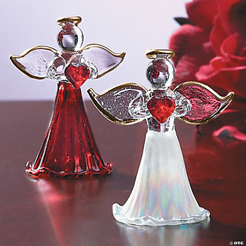Spun Glass Angel Ornaments Holding Red Hearts