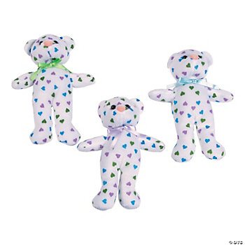 Plush Teddy Bears With Pastel Hearts