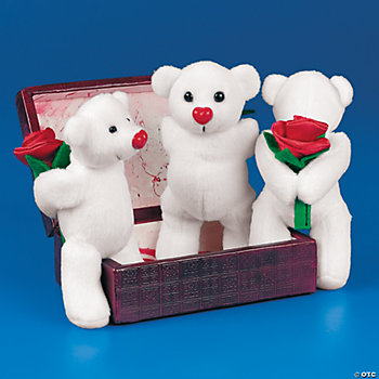 Plush White Valentine Bears