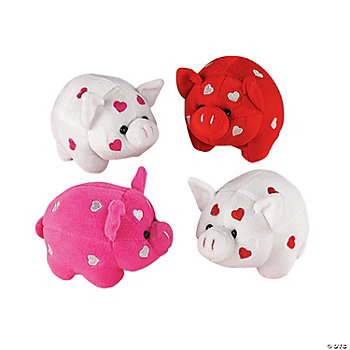 Plush Pigs With Embroidered Hearts