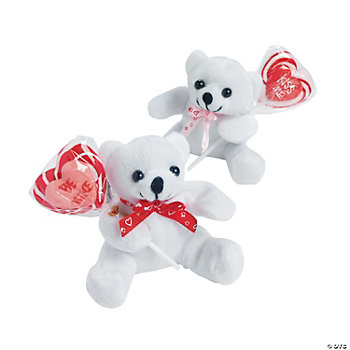 Plush Valentine Bears With Sucker