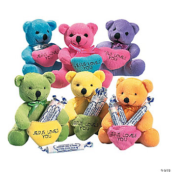 "Plush ""Jesus Loves You"" Bears With Candy"