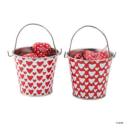 Valentine Pails with Chocolate Hearts