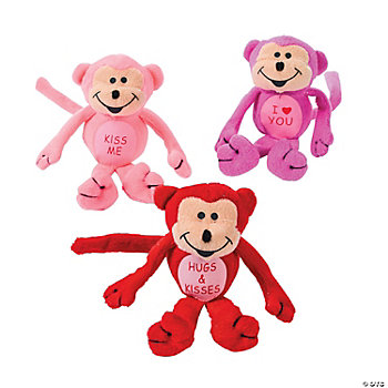 Plush Valentine Monkey Bean Bags