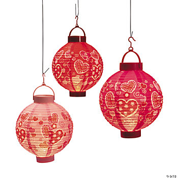 Valentine Hearts Light-Up Lanterns
