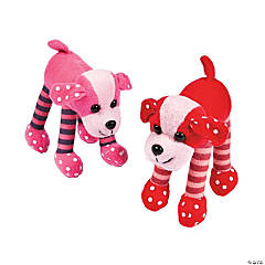 Plush Valentine Stripe-Legged Dogs