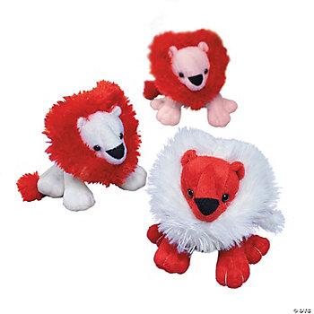 Plush Valentine Lions With Heart Mane