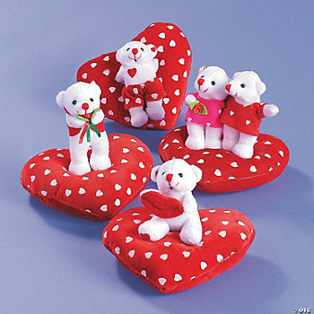 Plush Valentine Bears On Heart Pillow