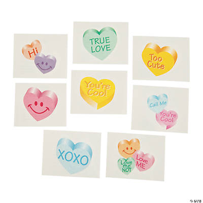 Glitter Conversation Heart Tattoos